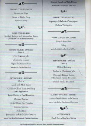 Titanic First Class menu.